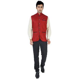 Nu abc Maroon Nehru Jacket For Men