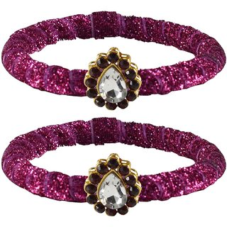 Pink Stone Brass Bangle