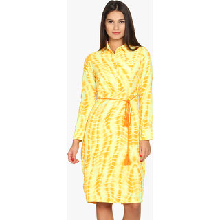 Folklore Yellow Printed A Line Dress For Women