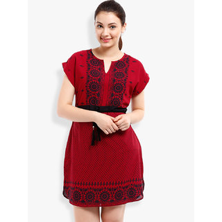 Folklore Pink Printed A Line Dress For Women