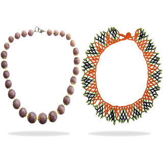 Beadworks Silver Plated COMBO-NK-08 For Women Girl