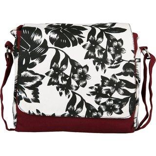 Vivinkaa Lilac Maroon Canvas Sling Bag for Women