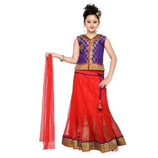 Aarika Girls Self Design Party Wear Lehenga Choli Set