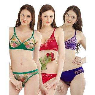 21f78434cc84c Buy Madam Set Of 3 Women s Designer Fancy Lingerie Set Online ...