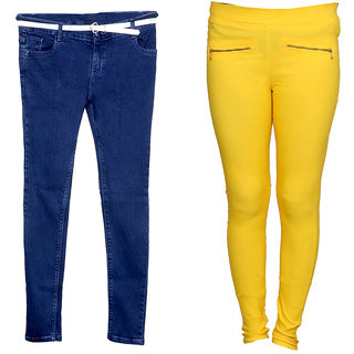 IndiWeaves Women 1 Regular Fit Super Soft Denim Jeans along with belt and 1 Cotton Casual Jegging (Pack of-2)