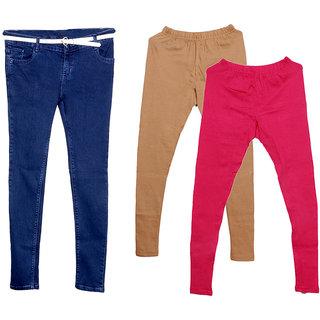 IndiWeaves Women 1 Regular Fit Super Soft Denim Jeans along with Belt (Size-28) and 2 Warm Wollen Churidar Legging (Pack of-3)