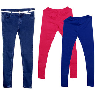 Indistar Women 1 Regular Fit Super Soft Denim Jeans along with Belt (Size-28) and 2 Warm Wollen Churidar Legging (Pack of-3)
