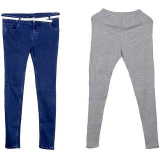 IndiWeaves Women 1 Regular Fit Super Soft Denim Jeans along with belt (Size-28) and 1 Warm Wollen Churidar Legging (Pack of-2)