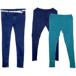 Indistar Women 1 Regular Fit Super Soft Denim Jeans along with Belt (Size-28) and 2 Warm Wollen Churidar Legging (Pack of-3)