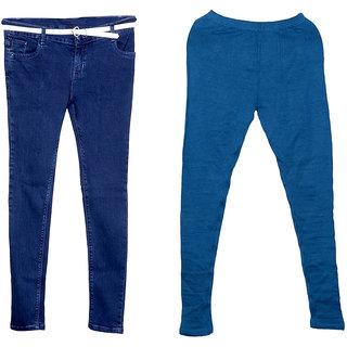 Indistar Women 1 Regular Fit Super Soft Denim Jeans along with belt (Size-28) and 1 Warm Wollen Churidar Legging (Pack of-2)