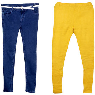 Indistar Women 1 Regular Fit Super Soft Denim Jeans along with belt (Size-28) and 1 Warm Wollen Churidar Legging (Pack of-2)