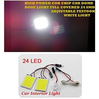 Car Dome COB 24 LED Chip Roof White Light Full Covered 24 SMD Adjustable Festoon