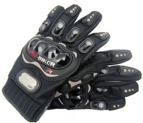 Probiker Leather Motorcycle riding Gloves (Black, XL size)