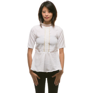 White front lace casual top for women