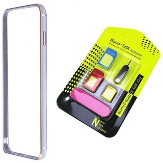 Bumper case for Samsung Galaxy Core II G355H (SILVER) With nano sim adapter