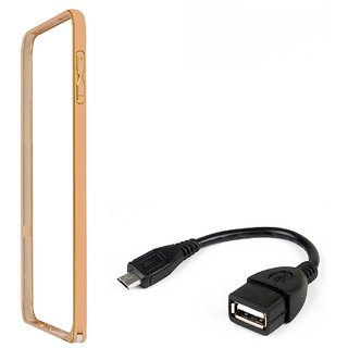 Bumper case for Samsung Galaxy Ace 4 LTE G313 (GOLDEN) With otg cable