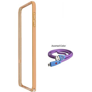 Bumper case for LENOVO A7000 (GOLDEN) With Usb Smiley Data Cable