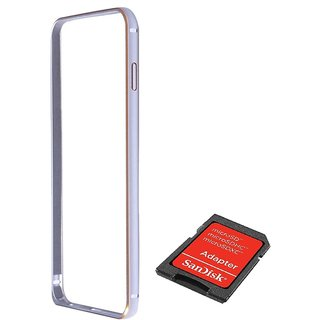 Bumper case for Samsung Galaxy J1 (SILVER) With Sandisk SD CARD READER