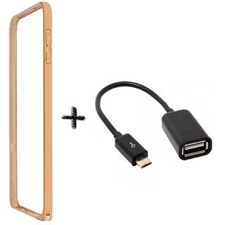 Bumper case for Samsung Galaxy E5 (GOLDEN) with otg cable