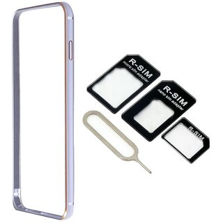 Bumper case for Samsung Galaxy GRAND PRIME G530 (SILVER) With Nossy nano sim adapter