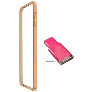 Bumper case for Samsung Galaxy Alfa SM-G850 (GOLDEN) With Memory Card reader