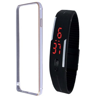 Bumper case for SonyXperia E4 (SILVER) with digital watch
