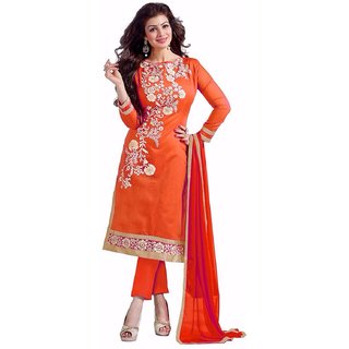 Trendz Apparels Orange Chanderi Cotton Straight Fit Salwar Suit