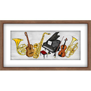 WallsnArt Music Framed with Glass Painting
