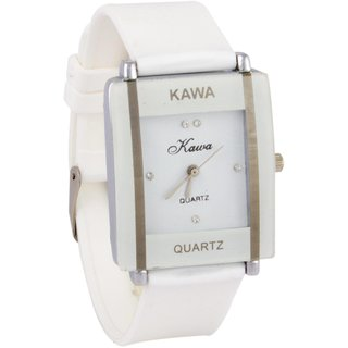 Addic Kawa White Color With Rectangular Crystal Studded Dial Watch For Women