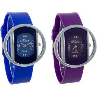 Addic Combo of Two Kawa Circular Silver Case Watches