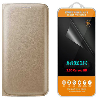 Golden Leather Flip Cover for Coolpad Mega 25D with 25D HD Tempered Glass