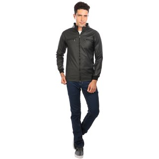 Nu abc Black PU Leather Jacket for Men
