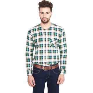 Nineteen97 Dark Green Checkered Men's Casual Shirts