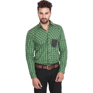 Nineteen97 Dark Green Checkered Mens Casual Shirts