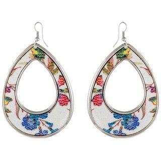 9blings Ravishing Design Flower Multicolour Printed Silver Tone Drop Style Earring