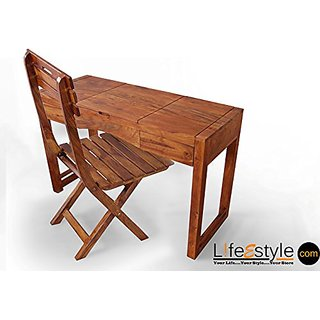 Sheesham Wood Study Table With Folding Chair available at ShopClues for Rs.17000