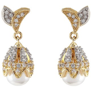 9blings New Hot Collection American Diamond Pearl Gold Tone Earring