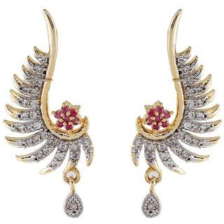 9blings American Diamond Pink Gold Tone Earring