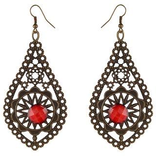 9blings Party Wear Filigree Work Metal Red Stone Hoop Earring