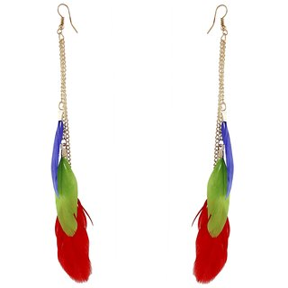 9blings Party Wear Multicolour Feather Cubic Zirconia Tassel Gold Plated Earring