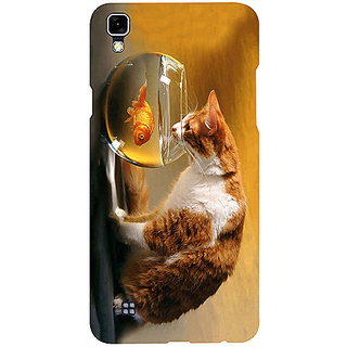 Casotec Cat and Fish Design 3D Printed Hard Back Case Cover for LG X Power