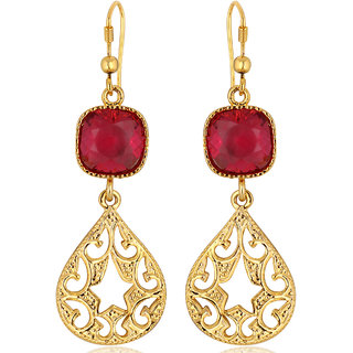 Spargz Ruby Color Synthetics Stone Gold Plating Dangle  Drop Hook Earrings For Women AIER 634