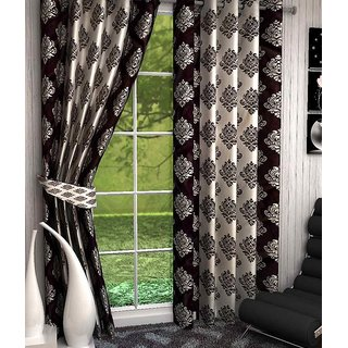 Set of 2  Multi Color (BROWN) Luxurious Windows Curtains from the house of LIVEIN FURNISHING STUDIO- Length 5ft Width 4ft