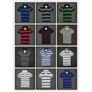 STRIPED POLO TSHIRT T SHIRT 100% COTTON BASIC