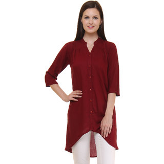 Ruhaan's Maroon Solid V-Neck Elbow Sleeve Rayon Tunic