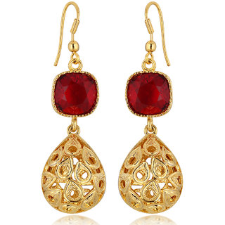 Spargz Red Color Synthetics Stone Gold Plating Dangle  Drop Hook Earrings For Women AIER 635