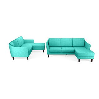 Fabhomedecor - Charlton L Shape Sofadark Bluecolor
