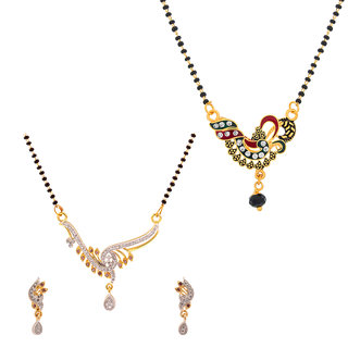 The Luxor Designer Australian Diamond  Meenakari Studded Daily Wear Mangalsutra Set Combo-2645