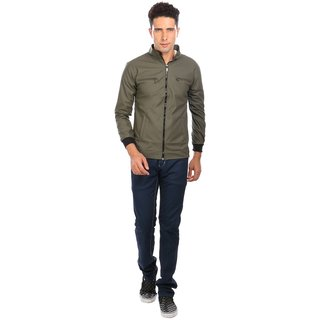 Nu abc Green PU Leather Jacket For Men