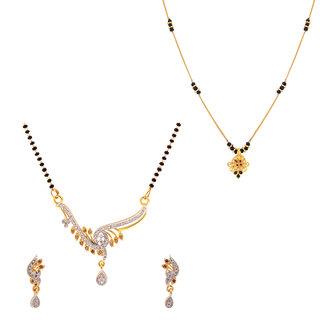 The Luxor Designer Australian Diamond  Meenakari Studded Simple Regular Wear Mangalsutra Set Combo-2647